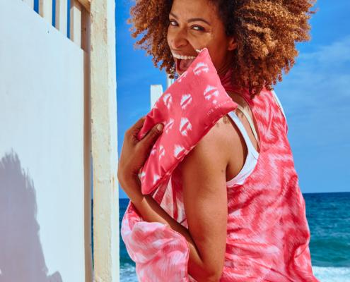 portrait editorial fashion lifestyle model female beach sun